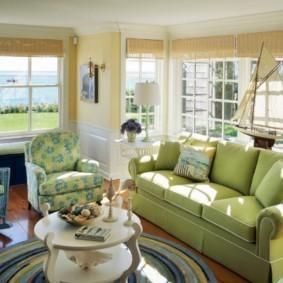 гостиная комната в зелёном цвете варианты