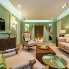 гостиная комната в зелёном цвете варианты фото