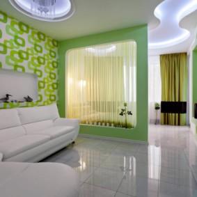 гостиная комната в зелёном цвете фото варианты