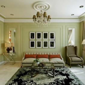 гостиная комната в зелёном цвете виды фото