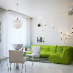 гостиная комната в зелёном цвете фото виды