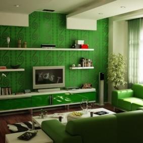 гостиная комната в зелёном цвете виды идеи