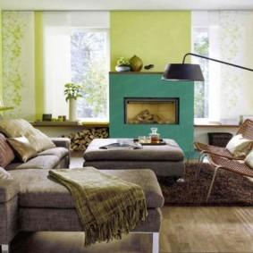гостиная комната в зелёном цвете идеи виды