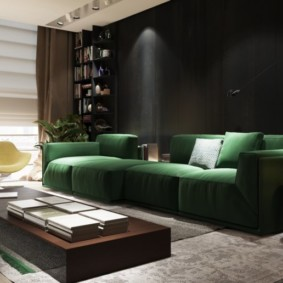 гостиная комната в зелёном цвете обзор