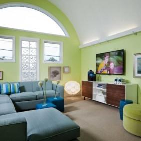 гостиная комната в зелёном цвете виды дизайна