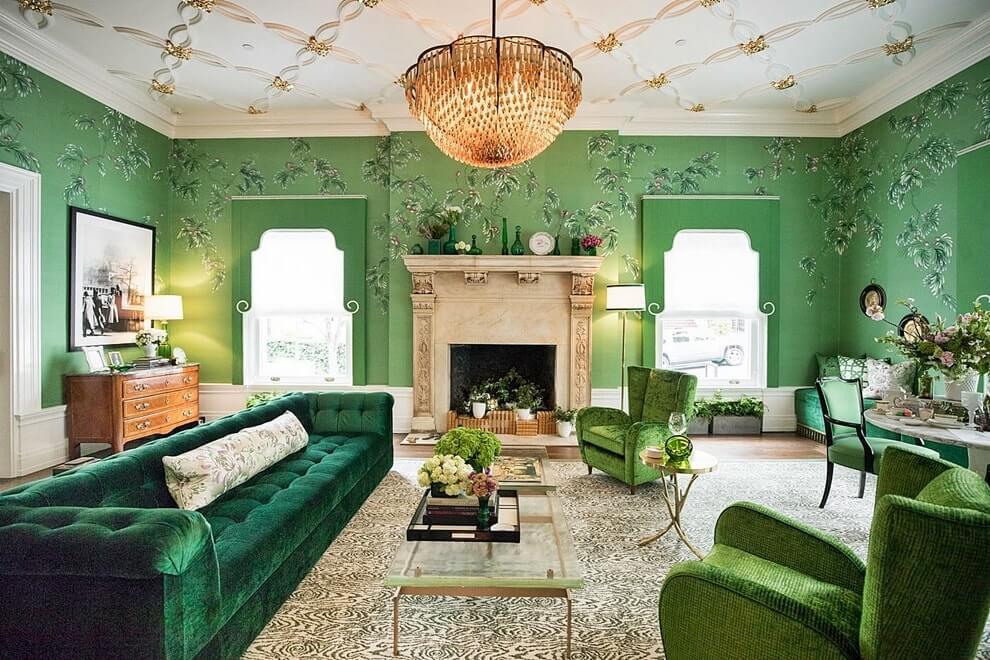 гостиная комната в зелёном цвете дизайн