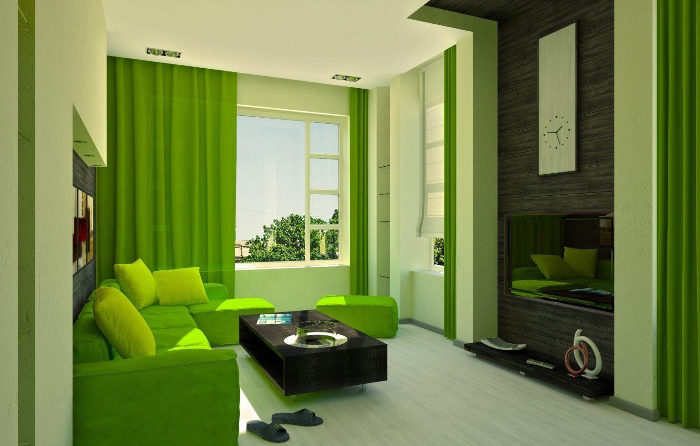 гостиная комната в зелёном цвете фото интерьера