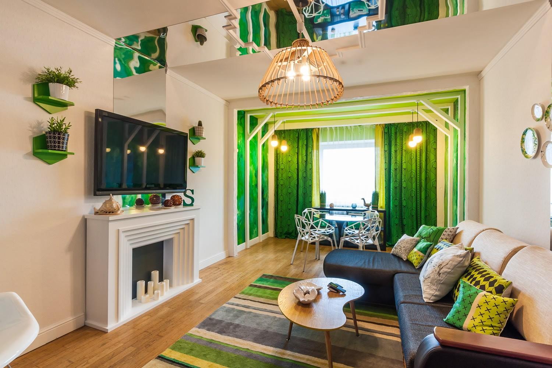 гостиная комната в зелёном цвете фото