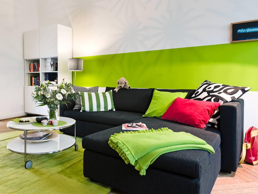 гостиная комната в зелёном цвете идеи фото