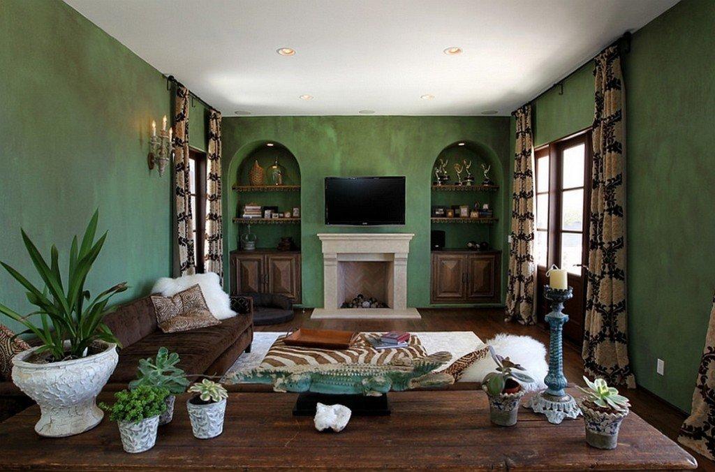 гостиная комната в зелёном цвете интерьер идеи