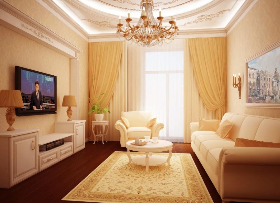 гостиная площадью 16 кв м классика