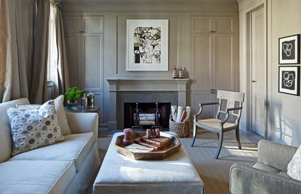 Неоклассический стиль в гостиной с камином