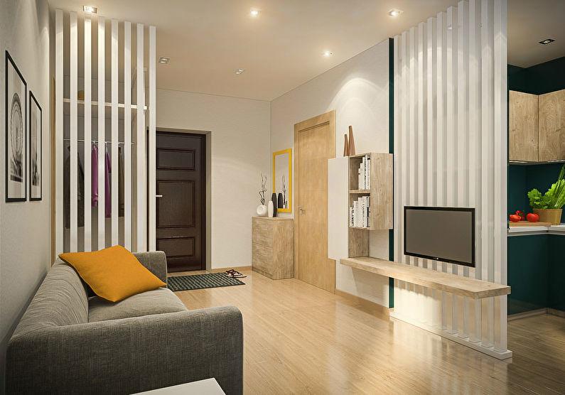Ламинированный пол в гостиной квартиры студийного типа