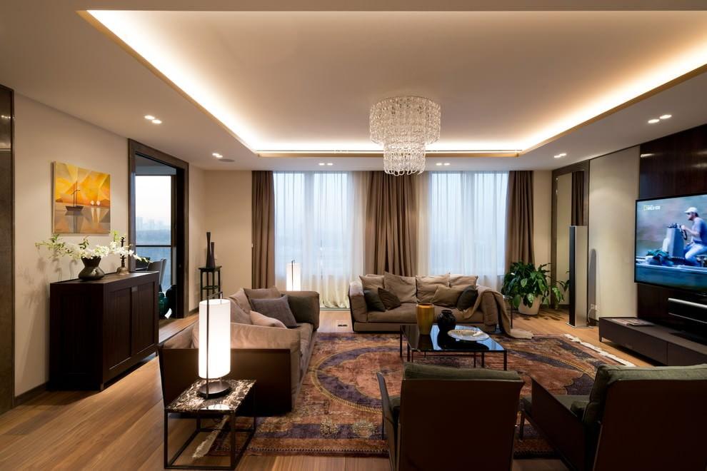 гостиная в американском стиле фото интерьера