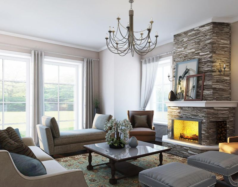 гостиная в американском стиле с большими окнами