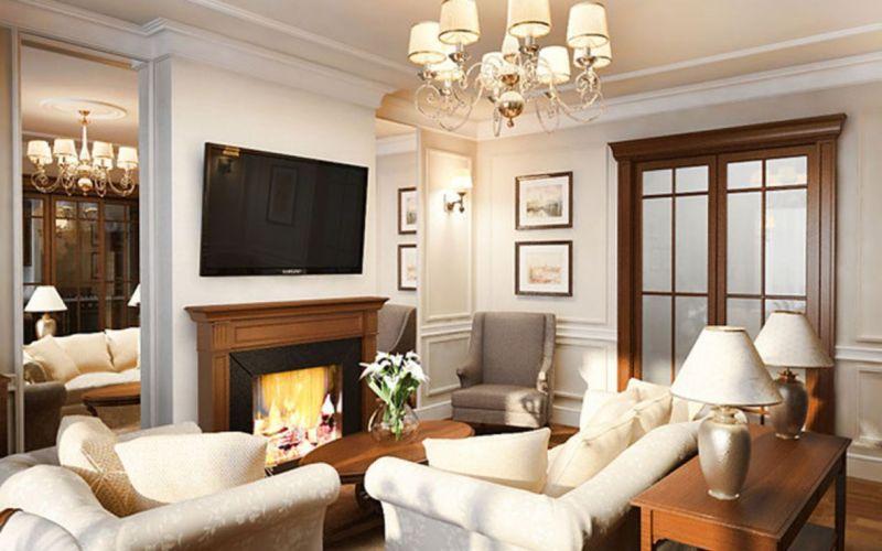 гостиная в английском стиле с камином