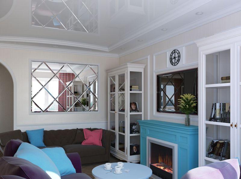 гостиная в английском стиле с зеркалом