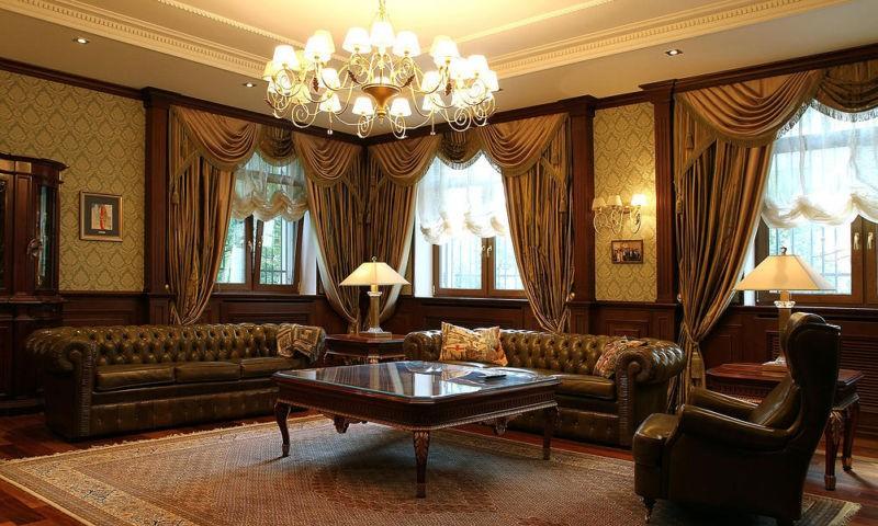 гостиная в английском стиле шторы
