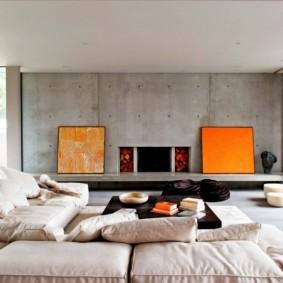 Яркий декор гостиной в стиле минимализма