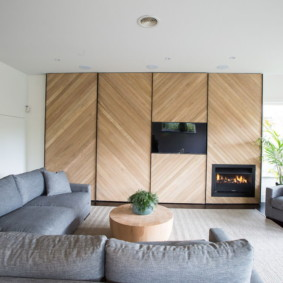 Дерево в современном интерьере гостиной