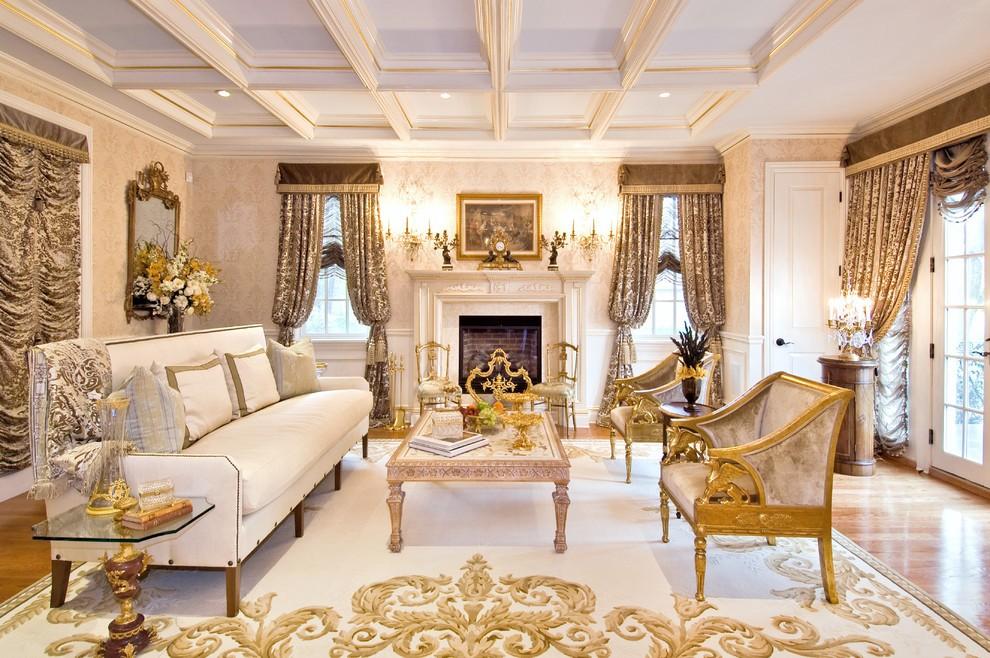 гостиная в классическом стиле камин