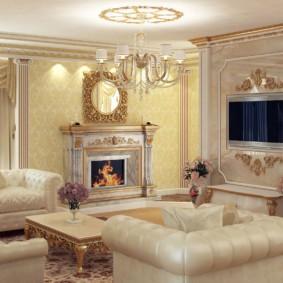 гостиная в классическом стиле оформление