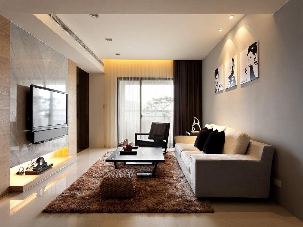 Узкая гостиная в квартире панельного дома