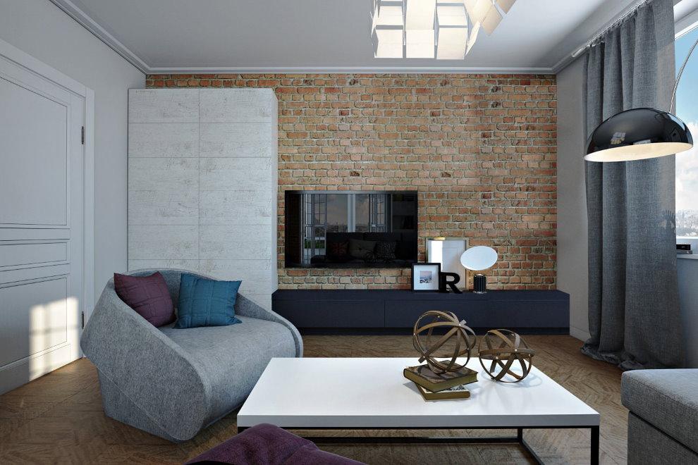 Кирпичная облицовка стены гостиной в стиле лофт