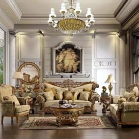 гостиная в стиле барокко фото декор