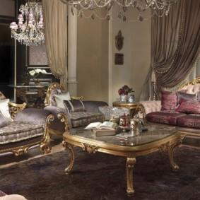 гостиная в стиле барокко фото интерьер