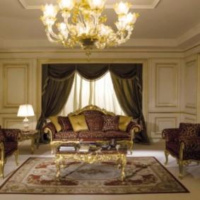 гостиная в стиле барокко виды декора