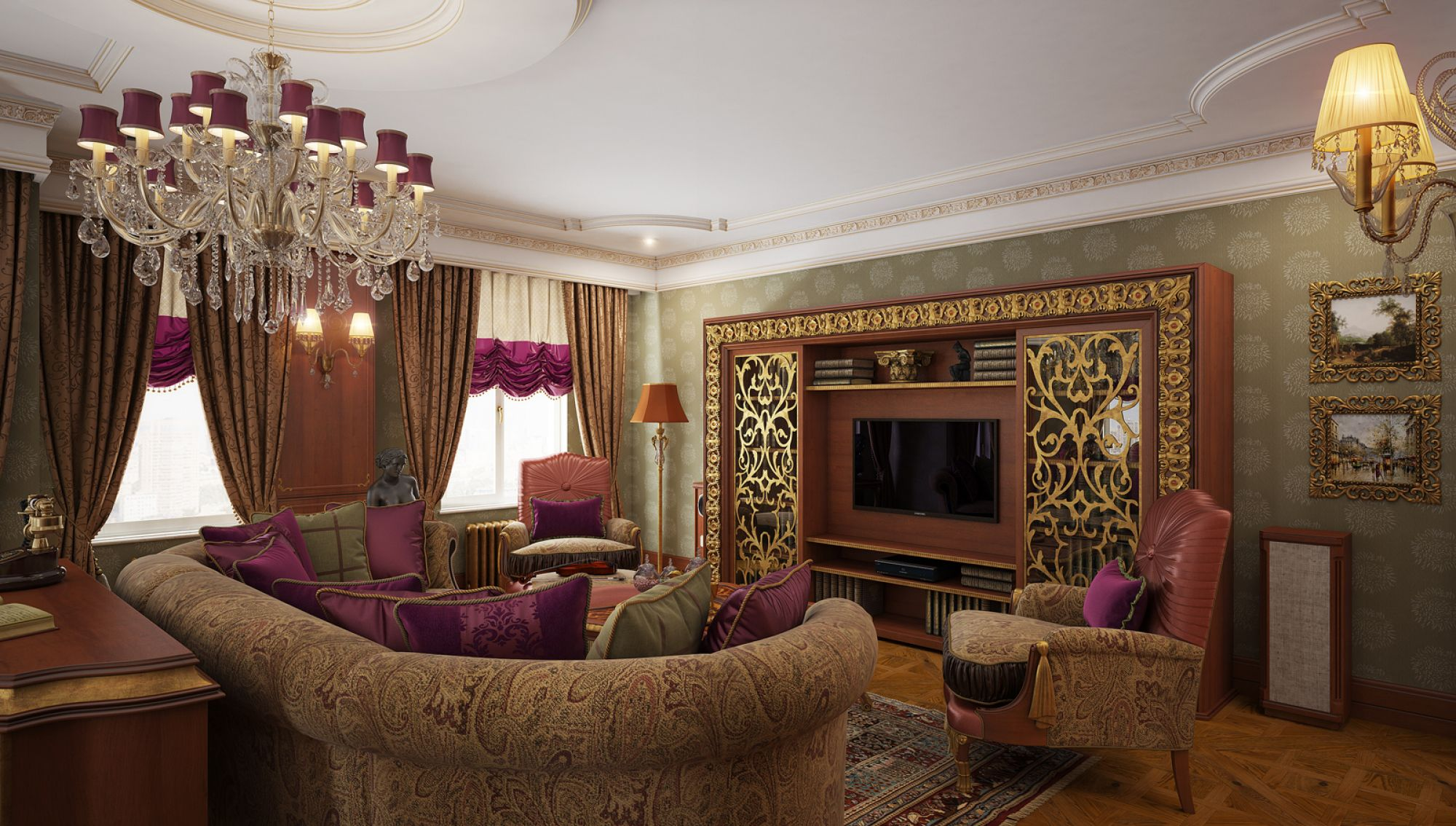 гостиная в стиле барокко фото декора
