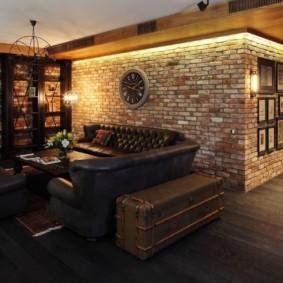 гостиная в стиле лофт дизайн идеи
