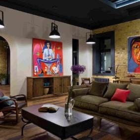 гостиная в стиле лофт идеи дизайн