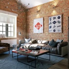 гостиная в стиле лофт идеи дизайна