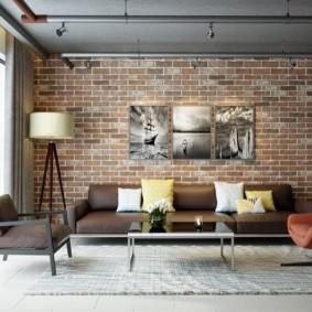 гостиная в стиле лофт идеи интерьер