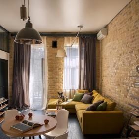 гостиная в стиле лофт идеи интерьера