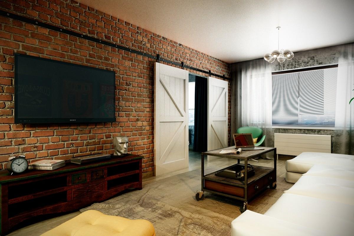 гостиная в стиле лофт белый потолок