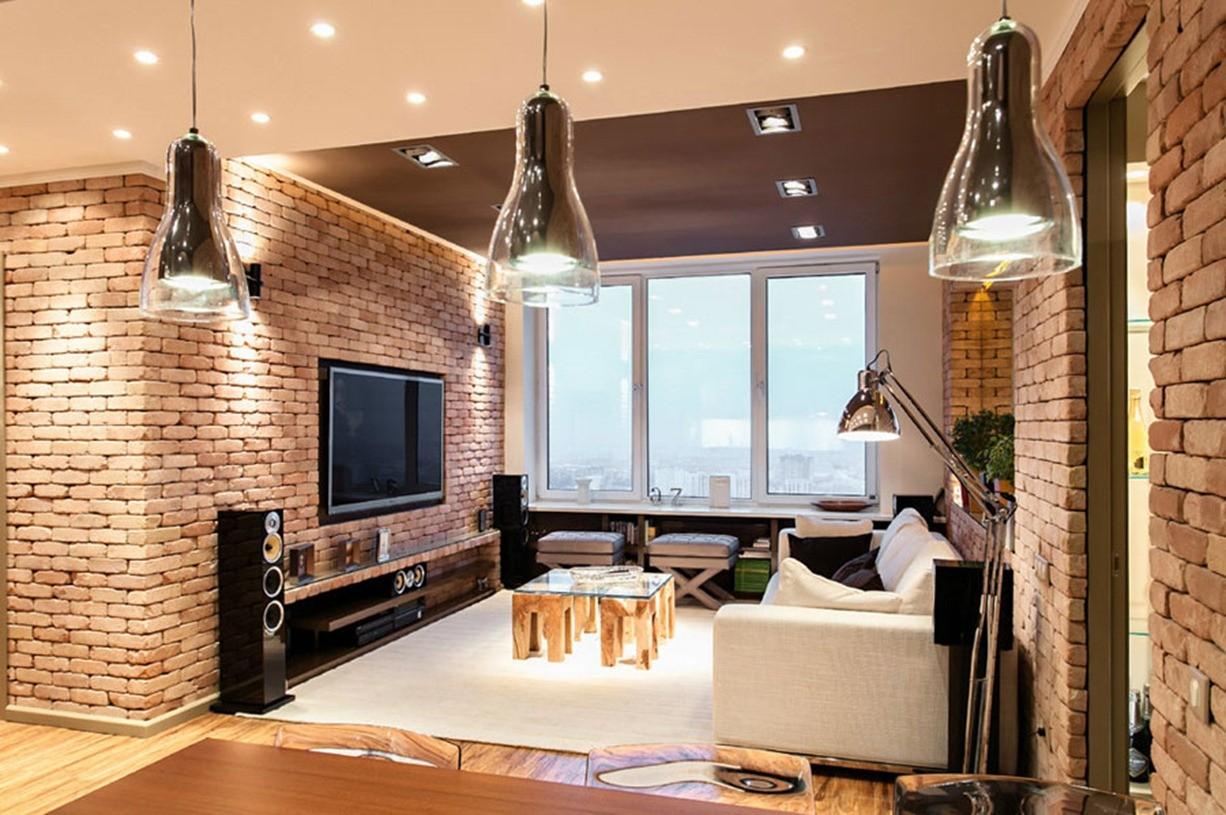 гостиная в стиле лофт декор фото