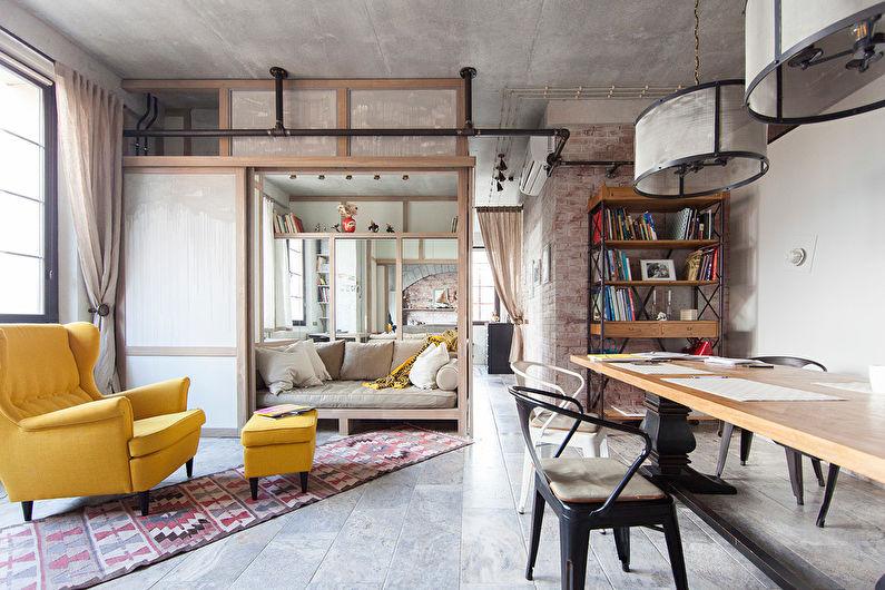 гостиная в стиле лофт дизайн