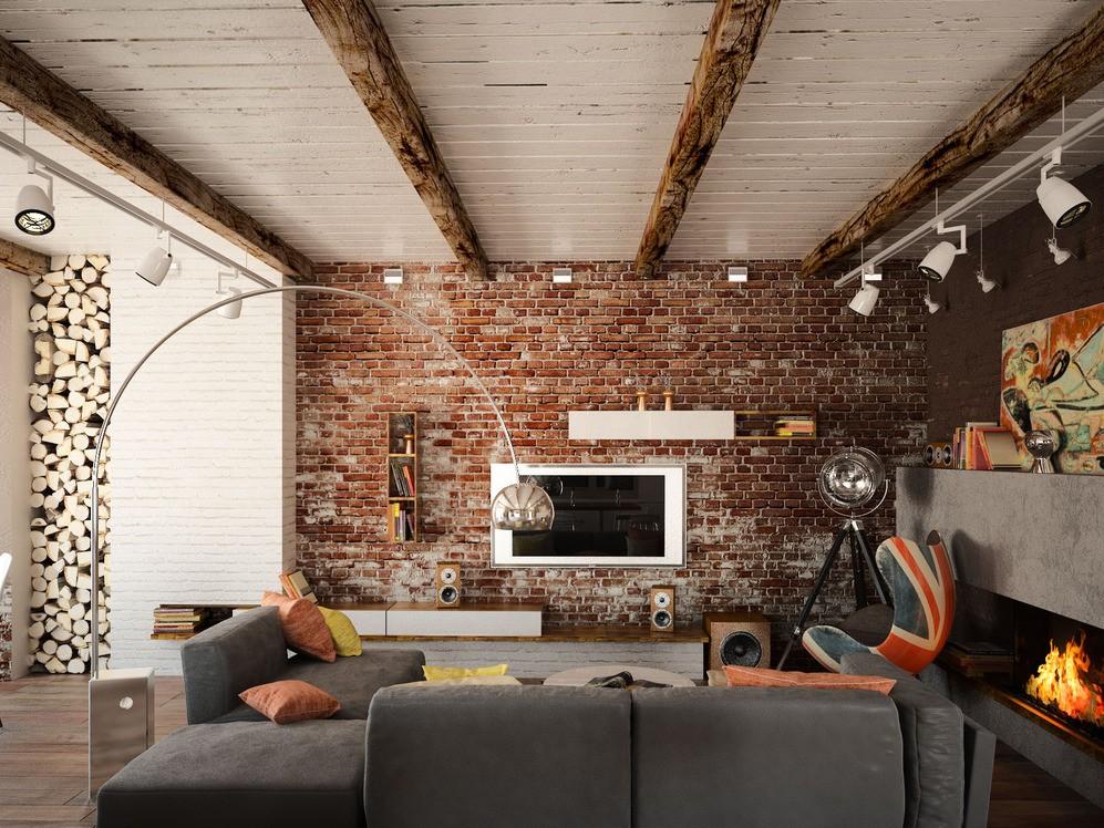 гостиная в стиле лофт фото интерьера