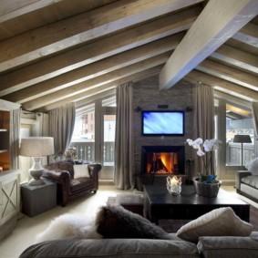 гостиная в стиле шале фото дизайна