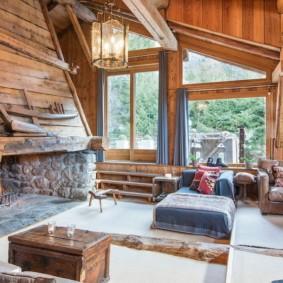 гостиная в стиле шале декор фото