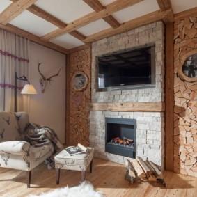 гостиная в стиле шале идеи декор