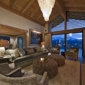 гостиная в стиле шале идеи интерьер