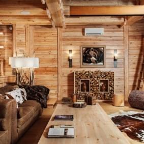 гостиная в стиле шале фото оформление