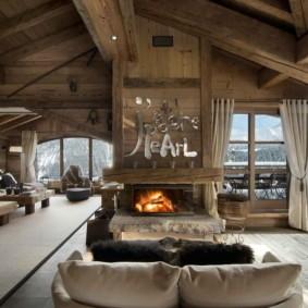 гостиная в стиле шале виды фото
