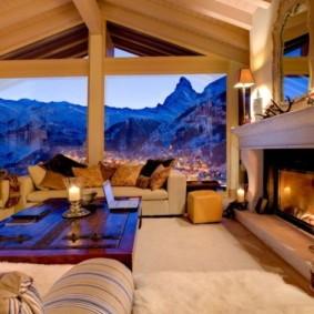 гостиная в стиле шале фото виды