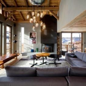 гостиная в стиле шале обзор