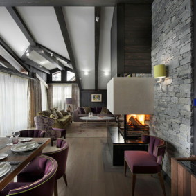 гостиная в стиле шале дизайн